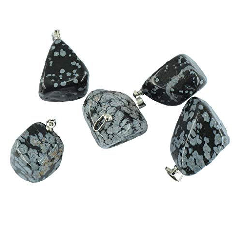 (5pcs Crystal Stone Quartz Charms Pendants Beads Gemstones DIY Charms for Necklace Jewelry Making - Snowflake Obsidian)