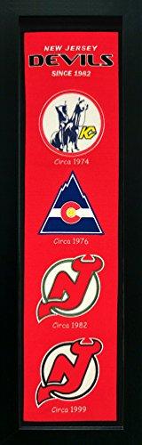 - New Jersey Devils - Standard Framed Wool Heritage Banner - NHL Mancave Artwork