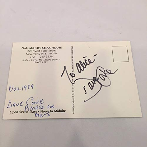 (Dave David Cone Signed Autographed Vintage Gallaghers Steak House Postcard)