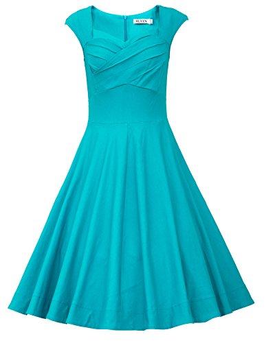 MUXXN Women's 1950s Vintage Retro Capshoulder Party Swing Dress (XXL, Turquoise)