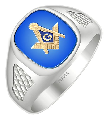 Masonic Back Ring Solid Mens - US Jewels And Gems Men's Blue Lodge Two Tone 0.925 Sterling Silver Solid Back Blue Stone Freemason Masonic Ring Size 11
