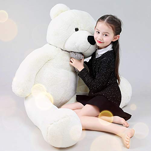 MaoGoLan 55 Inch Giant Teddy Bears Big Cute Plush Teddy Bear Huge Life Size Teddy Bear Large Stuffed Animal Toys for Girlfriend Children White