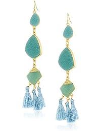 Womens Faux Mint Drusy Tassel Earrings, One Size