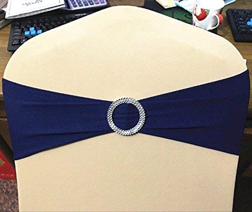 SINSSOWL 100PCS Stretch Wedding Chair Bands with Buckle Lycra Slider Sashes Bow Decorations 25 Colors … (Navy Blue)