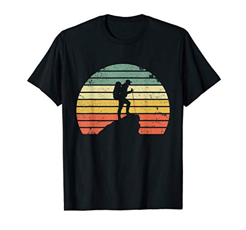 (Vintage Hiking T Shirt Hiker on Rock Retro Sunset Silhouette)
