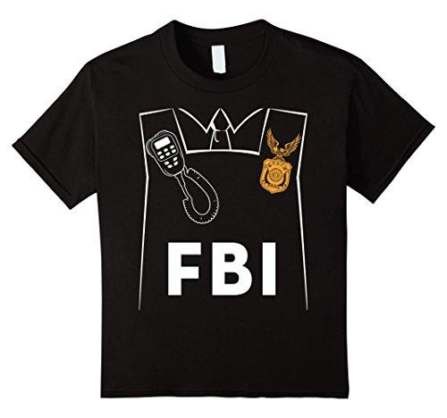 Kids FBI Costume Cute T-shirt Funny Halloween FBI Agent Costume 6 (Fbi Girl Costume)
