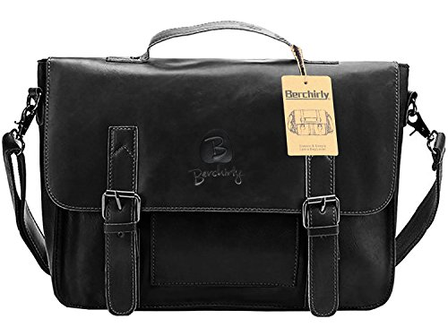 Berchirly PU Leather 14 inch Briefcase Messenger Laptop Bags Computer Shoulder Satchel