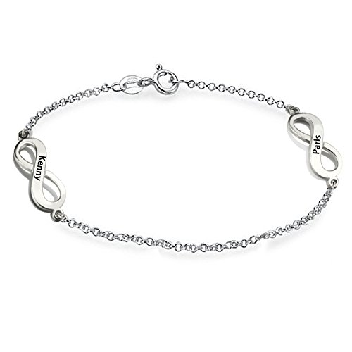 (Ouslier 925 Sterling Silver Personalized Two Infinity Bracelet with Rollo Chain Custom Made with 2 Names (Silver))