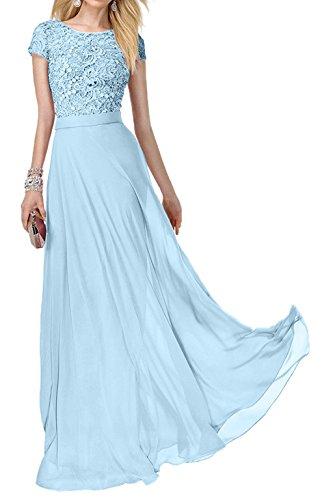 Damen Himmel Kurzarm Abiballkleider Lang Ballkleider Abendkleider Blau Promkleider Festlich Spitze Charmant Rosa vwCdqpv