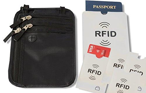 Passport Holder & Travel Neck Pouch/Wallet w/RFID Blocking w/Bonus RFID Blocking Sleeves (Holder Ticket Cruise)