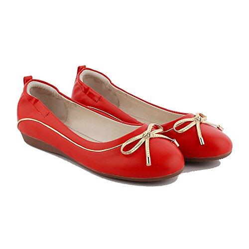 AllhqFashion Mujer Puntera Cerrada Puntera Redonda Sin cordones Pu Sólido Mini Tacón De salón Rojo