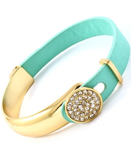 Mint Leather Gold Plated Pave Latch Bangle (Mint Leather Bangle)