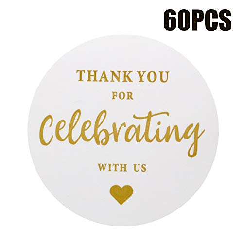 Original Design 60PCS Thank You for Celebrating with US Stickers,2 Inch Round Thank You Sticker Labels for Invitation Envelopes for Wedding, Baby Shower, Party Favor Baby Shower Invitation Bottle