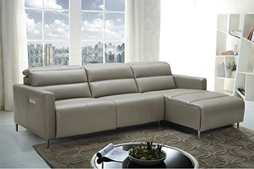 (J&M Furniture Dylan Leather Right Facing Sectional Sofa in Taupe)