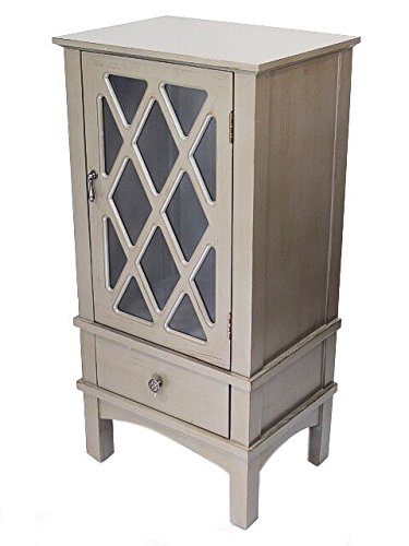 Heather Ann Creations The Cottage Collection Modern Style Wooden Living Room Single Door and Drawer Accent Cabinet with Glass Lattice Inserts, Natural Finish - Cottage Style Cabinets
