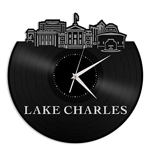 VinylShopUS - Lake Charles LA Vinyl Wall Clock City Skyline Souvenir Best Gift for Friends Office and Bedroom | Home Anniversary Decoration]()