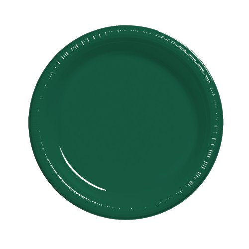 (Creative Converting Touch of Color 20 Count Plastic Dinner Plates, Hunter Green)