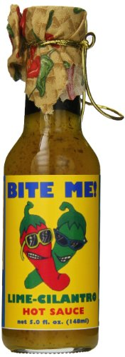 Bite Me Hot Sauce with Colorful Cloth Topper, Lime Cilantro, 5 Ounce Lime Cilantro Hot Sauce