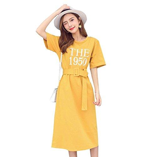 Genou au Manches Grande XL Robe Courte MiGMV Jupe Courtes T Taille Robe Yellow Shirt Longue qp7ESaw