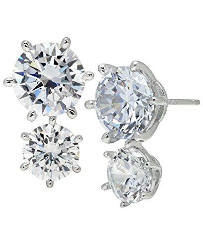 crislu Femme Boucles d'oreilles clous en argent sterling 925Double ronde Transparent oxyde de zirconium