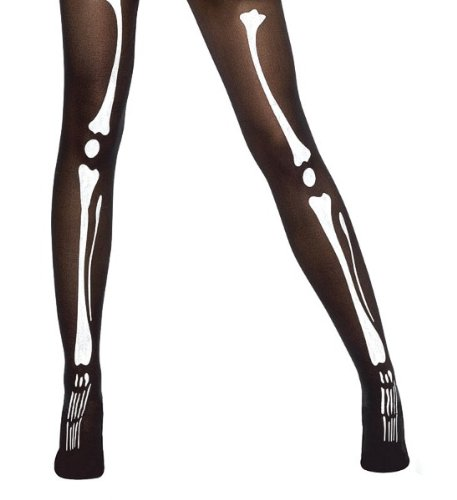 (Bristol Novelty BA214 Bone Printing Tights, Black, One)