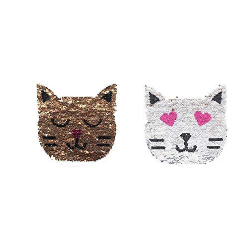 Patches - 1pc Cartoon Cat Head Reversible Sequins Sew On Patch Crafts Coat Sweater Embroidered Applique - Furniture Trainer Eraser Rock Kids Medium Reward Animals Poop Vacuum Zapper Video Access (Best Airline Price Tracker)