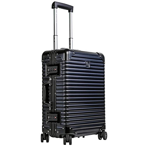 LANZZO Aluminum Magnesium Alloy Luggage with Spinner Wheels TSA Lock Approved Hardshell Travel Suitcase, 20inches, Black (Side Alloy Wheel)