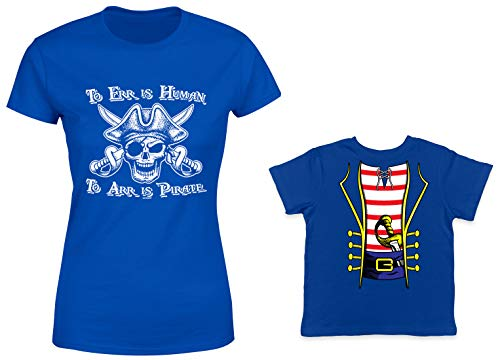 HAASE UNLIMITED to ERR is Human/Pirate Costume 2-Pack Toddler & Ladies T-Shirt (Royal/Royal, Medium/6 Months)