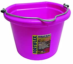 Fortiflex Flat Back Feed Bucket for Dogs/Cats and Small Animals, 8-Quart, Hot Pink