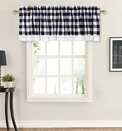 Valance Curtain, Gingham Check Plaid Pattern, Extra Wide and Short Window Treatment for Kitchen Living Dining Room Bathroom Kids Girl Baby Nursery Bedroom - 72 x 16 Set of 2 Color Black White