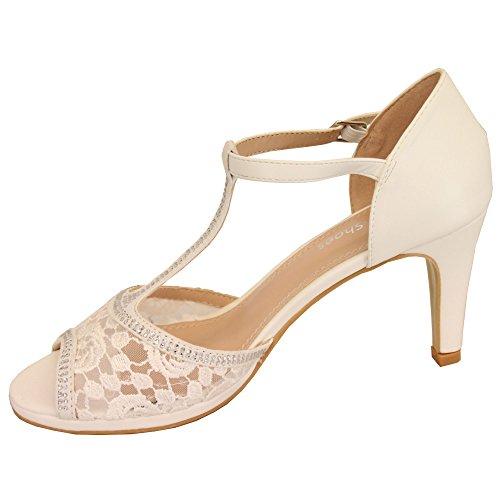 CHC Ladies Stiletto Heel Sandals Womens Diamante Open Toe Bridesmaid Wedding Bridal White - N17108 B6nqvqt0Q2
