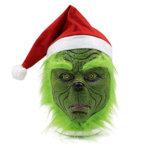 Funny Grinch Stole Christmas Full Head Latex Mask Cosplay Adult Costume Party Mask Hat Xmas with Further Grinch Mask -