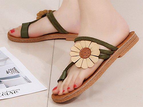 sandali moda e fondo KUKI delle pantofole fiori a 1 due alla donne piatto indossano wqw8Z71Bp