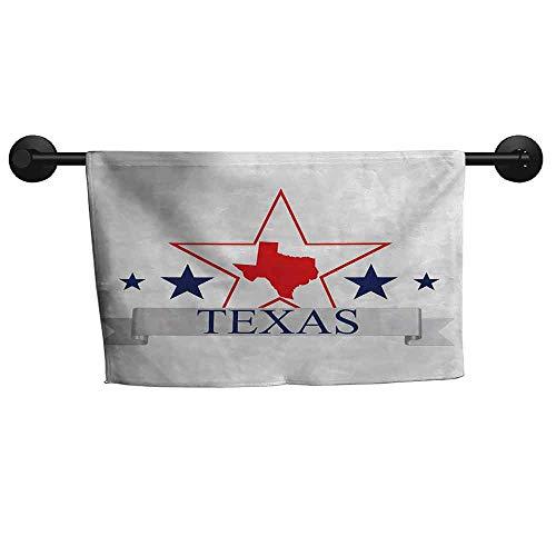 xixiBO Decorative Towel W 39 x L 10(inch) Easy to Dry Towel,Texas Star,San Antonio Dallas Houston Austin Map with Stars Pattern USA,Navy Blue Vermilion Pale Grey (Travel Time From Austin To San Antonio)