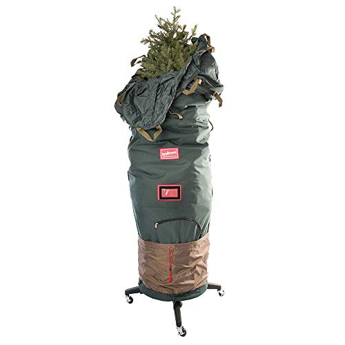 [Upright Tree Storage Bag] - 7.5 Foot Christmas Tree Storage Bag | Store Fake Trees up to 7-1/2 Feet Tall - Keep Your Tree Assembled | Includes Rolling Tree Stand (7.5' - Medium/with Tree Stand)