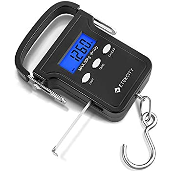 Etekcity Digital Fish Scale 110lb/50kg, Portable Luggage Weight Scale, Electronic Hanging Hook Scale, Fishing Scale with Measuring Tape, Backlit LCD Display ...