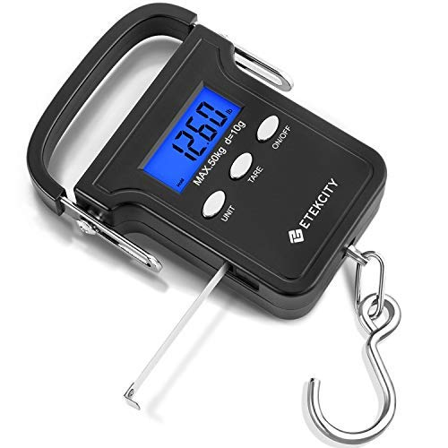 Etekcity Digital Fish Scale 110lb/50kg, Portable Luggage Weight Scale, Electronic Hanging Hook Scale, Fishing Scale with Measuring Tape, Backlit LCD Display, Carry Bag