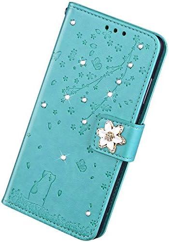 Herbests Kompatibel mit Samsung Galaxy S8 Plus Hülle Handytasche Leder Hülle Strass Diamant Bling Glitzer Kirschblüte Blumen Schutzhülle Flip Bookstyle Case Tasche Kartenfächer Magnet,Grün