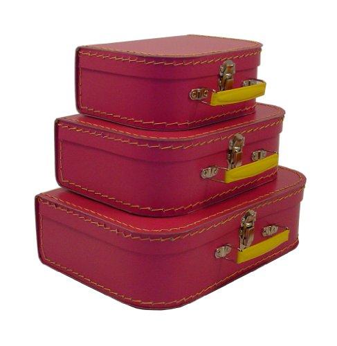 cargo Vintage Travelers Mini Suitcases, 3-Set, Pinkberry, 10-Pack