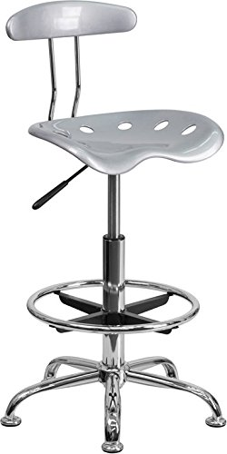 Vibrant Silver and Chrome Drafting Stool with Tractor Seat [LF-215-SILVER-GG] electronic consumers