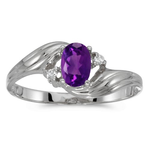 0.36 Carat ctw 10k Gold Oval Purple Amethyst & Diamond Bypass Swirl Cocktail Anniversary Fasion Ring - White-gold, Size 8 ()