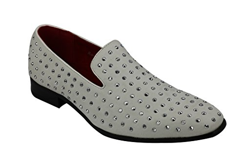 Rossellini Baldoria Mens Spiked Loafer Faux Leather Studded Moccasin Shoes in Black White Blue Suede [White,UK 10 EU (Studded Leather Moccasins)