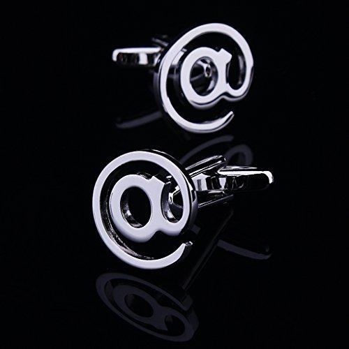 TOOGOO(R) 1 paire de @ Email Symbole Boutons de Manchette pour Homme - d'Argent