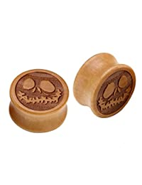 Oasis Plus Jack Skellington Organic Wood Tunnels Double Flared Ear Stretcher Saddle Plugs Gauge 8mm - 20mm