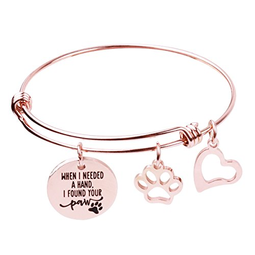 RUNXINTD Dog Lovers Bracelet When I Needed A Hand I Found Your Paw with Paw Print Charm Bracelet (Rose Gold)