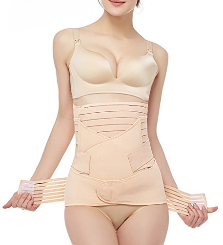 Postpartum Belly Wrap 3 in 1 Post Partum Support Girdles C-Section Recovery Belly Waist Pelvis Wrap Postnatal Trainer Belt Beige (Best After Birth Belly Wrap)