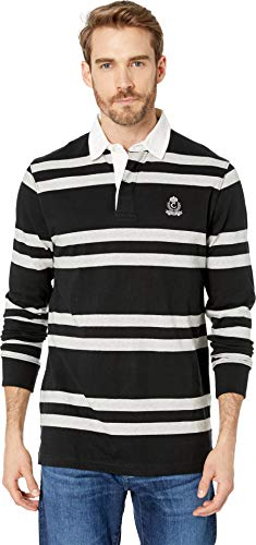 Chaps Men's Cotton Rugby Polo Polo Black Multi Large ()
