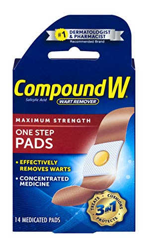 Compound W One Step Pads | Salicylic Acid Wart Remover | 14 Count (Pack of 1) Pads