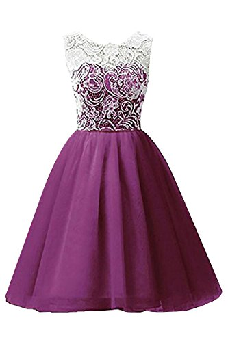 YMING Kids Girls Party Princess Pageant Gown Candy Color Lace Girl Dress 13-14 Years Purple (Weave Basket Dress Wedding)