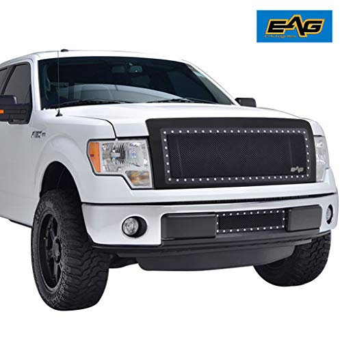 EAG Rivet Stainless Steel Wire Mesh Grille with Shell Fit for 2009-2014 Ford F-150